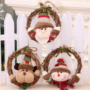 Other - Christmas Wreath Santa Snowman Rattan Ornaments 3x